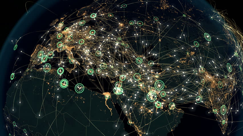 Many Arrows Fly Among Cities. Global Communications over Asia and Europe. Global Connections - Destinations all over the World. Flight Paths. The High-Resolution Texture of City Lights. 4k.