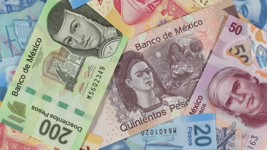 Mexico Peso Notes Slow Rotating