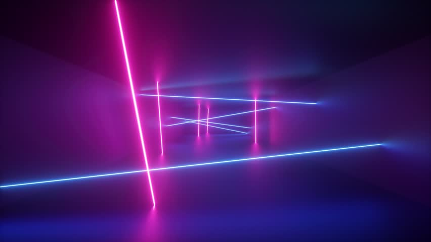 abstract background, rotating neon rays, spinning glowing lines inside endless tunnel, flying through corridor, fluorescent ultraviolet light, blue red pink purple spectrum, looped, seamless animation Royalty-Free Stock Footage #1024314893