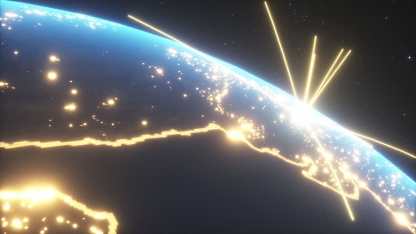 World connections with city lights. Blue. Earth globe. Spinning Earth with light lines growing from major cities all over the world. Royalty-Free Stock Footage #1024315253