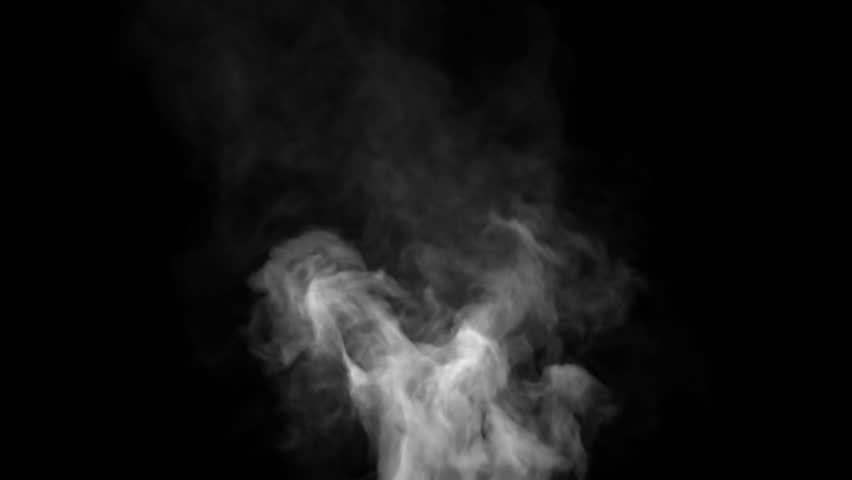 White steam spins and rises from the pan. White smoke rises from a large pot, which is located behind the frame. Isolated seamless loop black background. #1024315289