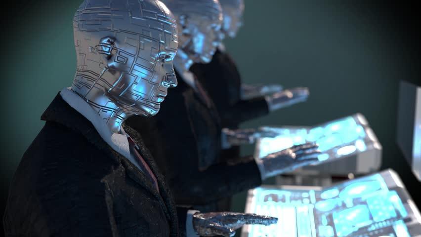 3d rendering humanoid robots working    Shutterstock HD Video #1024319003