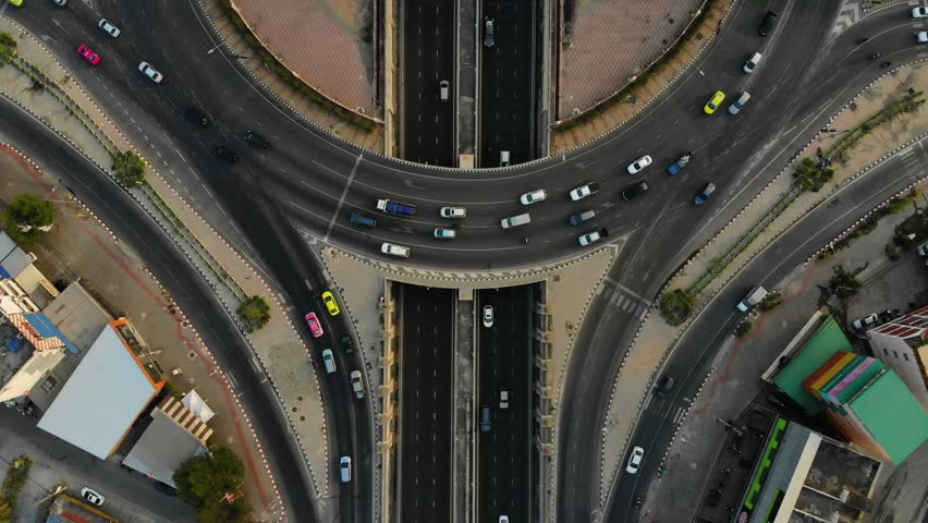Circle rama 5 Road of Expressway top view, Road traffic an important infrastructure | Shutterstock HD Video #1024327298