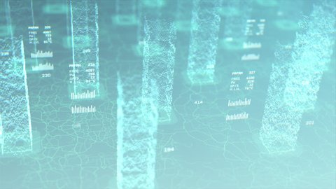 Towers of data rise up in a sea of information, representing financial processing on the block chain
