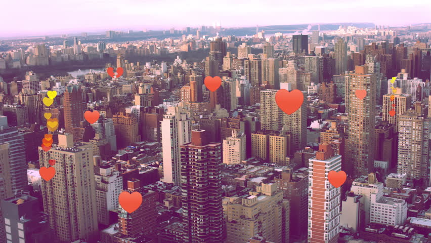 Heart emoji icons flying upwards from buildings into sky representing dating app. For social media showing digital connections and networking.