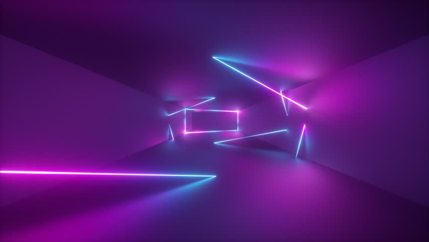 moving forward endless tunnel, abstract neon background, ultraviolet light, glowing lines, virtual reality interface, frames, hud, pink blue spectrum, laser rays #1024370078