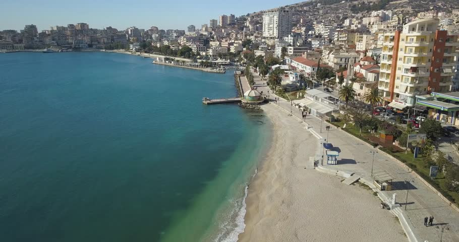 saranda albania boulevard beautiful and quiet day for relax