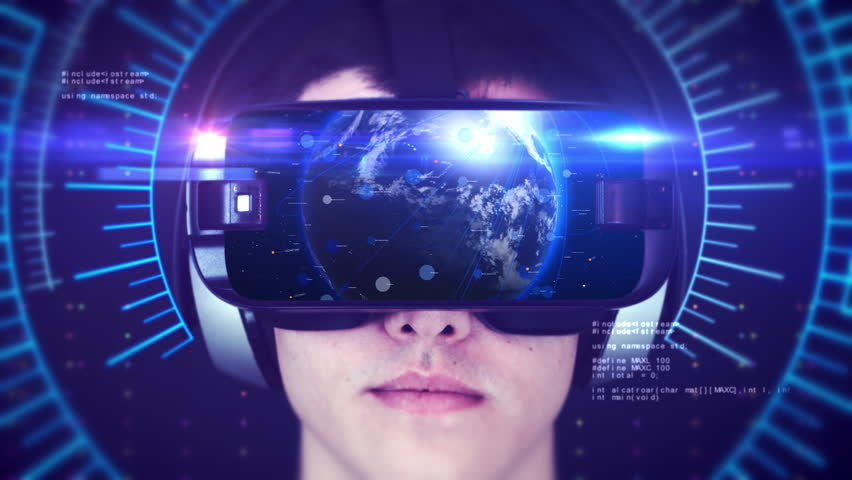 Young man wearing VR headset and experiencing 3D virtual reality. Technology related digital earth network concept. Seamless Loop. | Shutterstock HD Video #1024383362