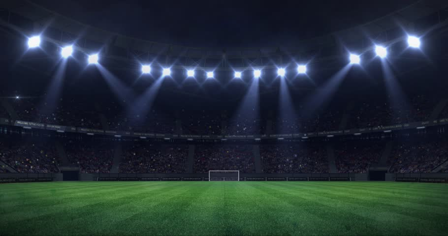 Grand football stadium at night with light moving as seamless loop, soccer arena sport advertisement static view background, 4k loop animation | Shutterstock HD Video #1024387406