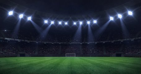 grand football stadium at night with light moving as seamless loop, soccer arena sport advertisement static view background, 4k loop animation