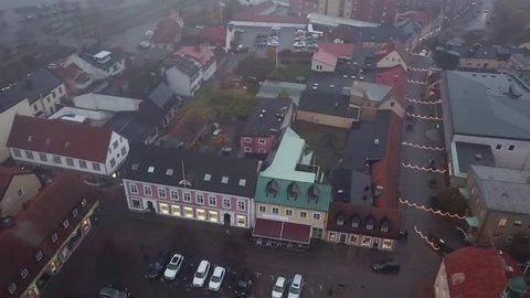 Drone view over of Solvesborg, Sweden. Baltic sea bay. Solvesborgbron, pedestrian bridge Main square in the city center, winter time.