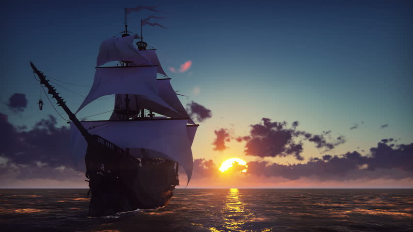 Large medieval ship on the sea on a sunset. The old medieval ship gracefully sails in the open sea. | Shutterstock HD Video #1024398179