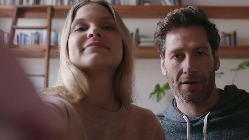 Happy Couple Video Chatting On Stock Footage Video 100 Royalty