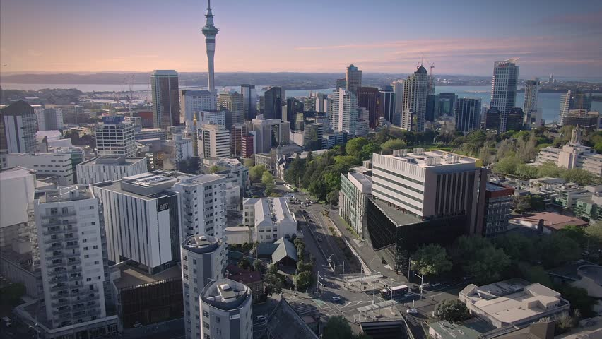 1 October 2018. AUCKLAND, NEW ZEALAND. Aerial View Of Auckland University & Auckland University of Technology in downtown Auckland, New Zealand
