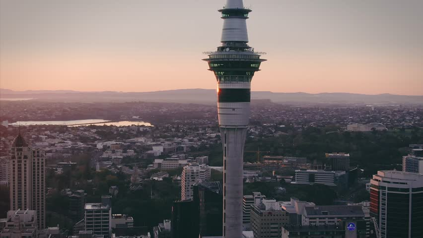 24 SEPTEMBER 2018. AUCKLAND, NEW ZEALAND. Aerial View Of Auckland City Skyline & Sky Tower at sunrise