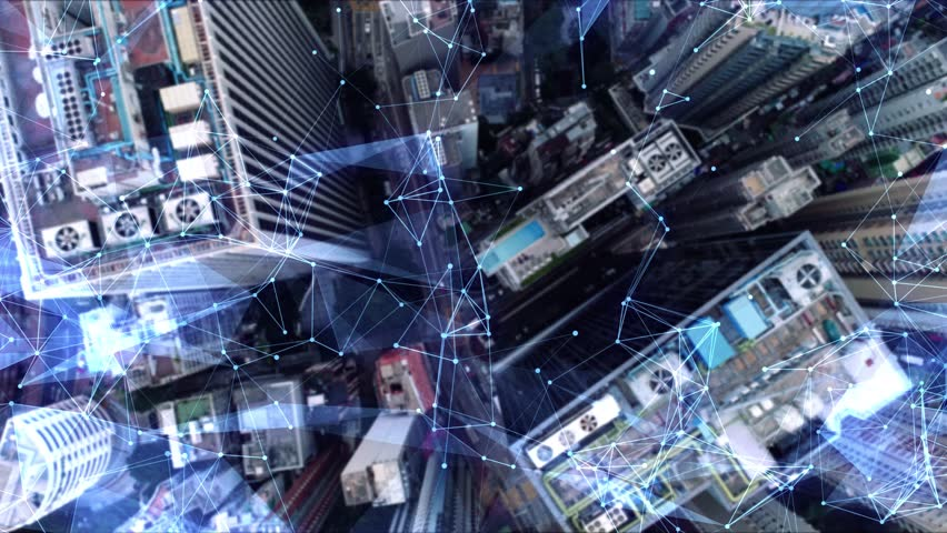Aerial. Camera moving around buildings. Wireless communication network concept. IoT Internet of Things. ICTInformation Communication Technology. Royalty-Free Stock Footage #1024453031