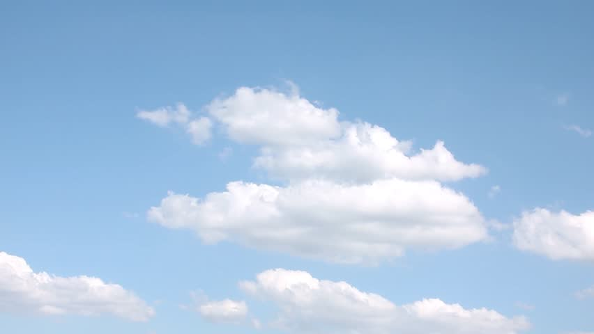 Soft blue sky, time lapse white rolling, building big clouds panoramic aerial view, very beautiful colors, fluffy summer, sunny lightness cloudscape.  -UHD.