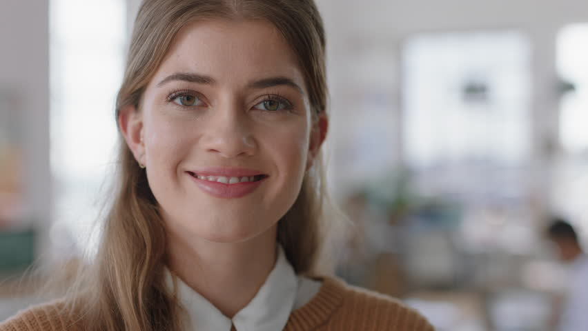 Portrait beautiful business woman smiling happy entrepreneur enjoying successful startup company proud manager in office workspace | Shutterstock HD Video #1024485722