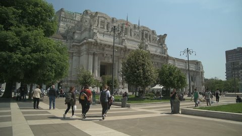 Milan, Central Station Square with People in Slow Motion Milano,Italia in Milan,Italy-May 2018