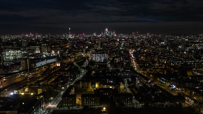 Establishing Aerial View of London Skyline, The City of London, United Kingdom, night