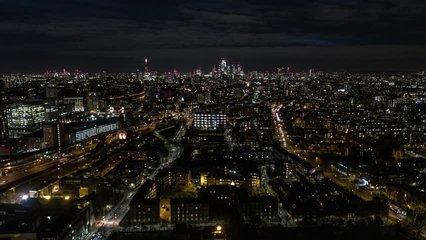 Establishing Aerial View of London Skyline, The City of London, United Kingdom, night