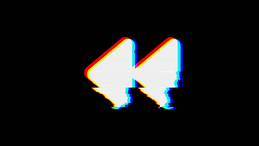 From the Glitch effect arises backward symbol. Then the TV turns off. Alpha channel Premultiplied - Matted with color black | Shutterstock HD Video #1024509101