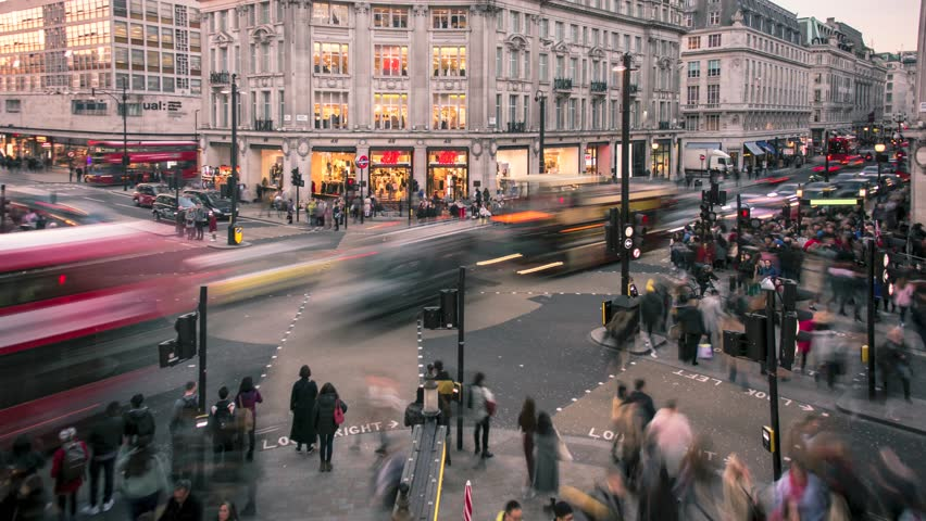 LONDON- FEBRUARY, 2019: Oxford Street circus, time lapse of rush hour from elevated view of world famous London landmark