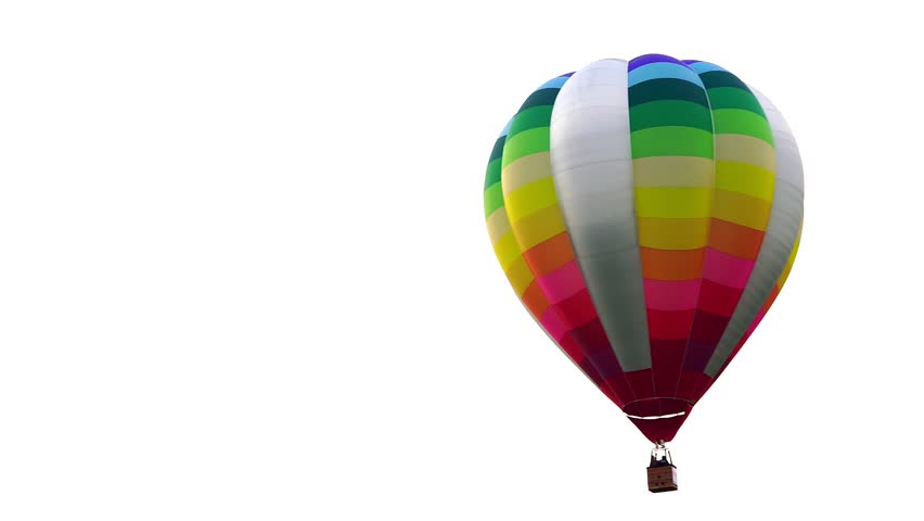 Colorful hot air balloon floating isolated in white background.
