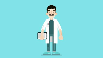 Explainer video animated character, male doctor with a moustache explaining and pointing finger. 2D animation of vector illustration. Made in 4K + Alpha channel