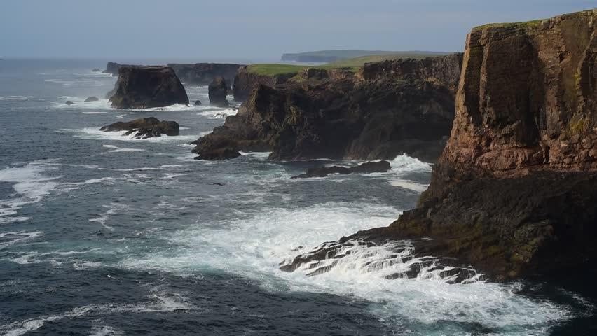 Sea stacks and cliffs at Eshaness / Esha Ness, peninsula in Northmavine on the island of Mainland, Shetland Islands, Scotland, UK