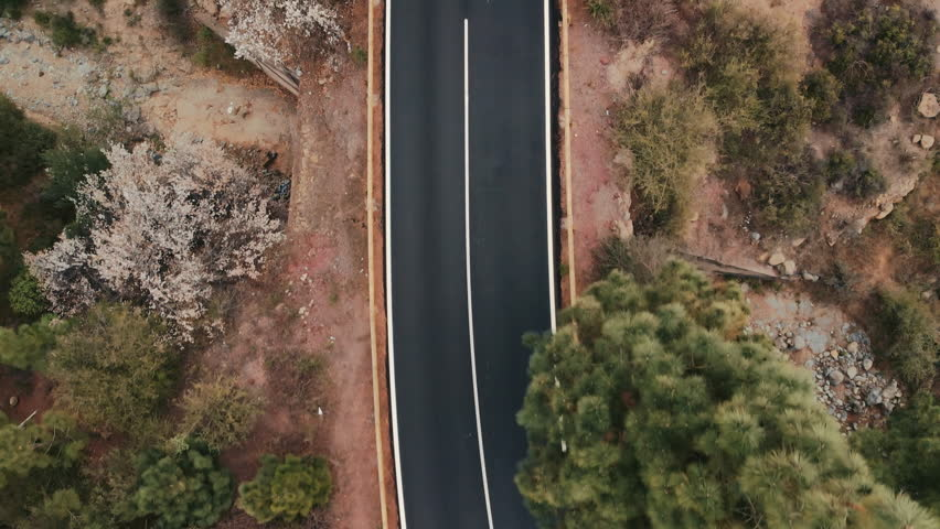 Aerial shot. Looking down. Cars go new ideally flat asphalt road. Fresh white road markings. Against the background of green trees and red stone desert landscape. Spain, Canary Islands, Tenerife