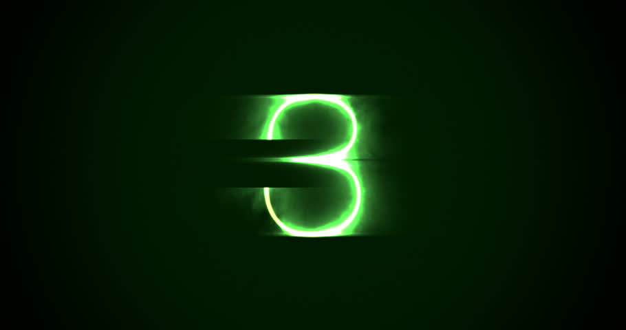 Green laser projected countdown with bad signal glitch. | Shutterstock HD Video #1024613162