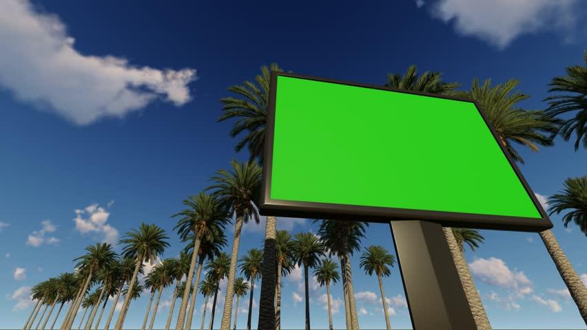 Green screen billboard, with palm trees | Shutterstock HD Video #1024620455