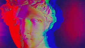 Digital pixel noise glitch art effect. Retro futurism 80s 90s dynamic wave style. Video signal damage with tv noise and old screen interference