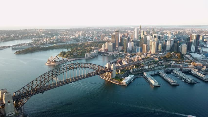4k aerial cinematic drone footage b-roll of Sydney Harbour Bridge during sunrise.  | Shutterstock HD Video #1024670447