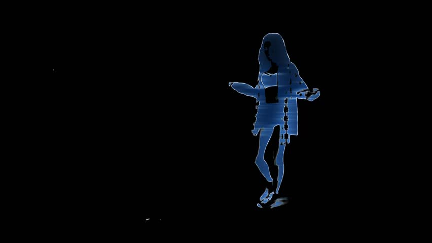 Hip-hop dancing female holographic image in blue with light rays inside the silhouette.   Shutterstock HD Video #1024676972