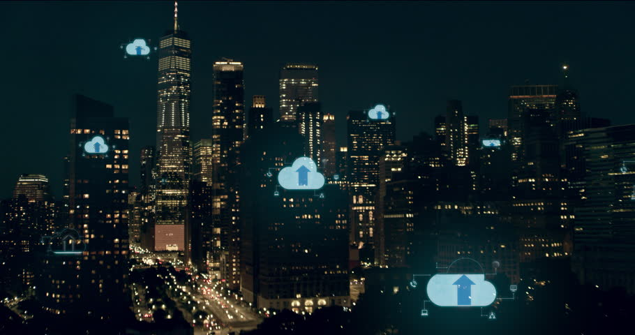 Cloud computing icons with percentages scattered throughout a large city. Data communication, technology concept, artificial intelligence, digital network. New York City shot on 4k RED camera.