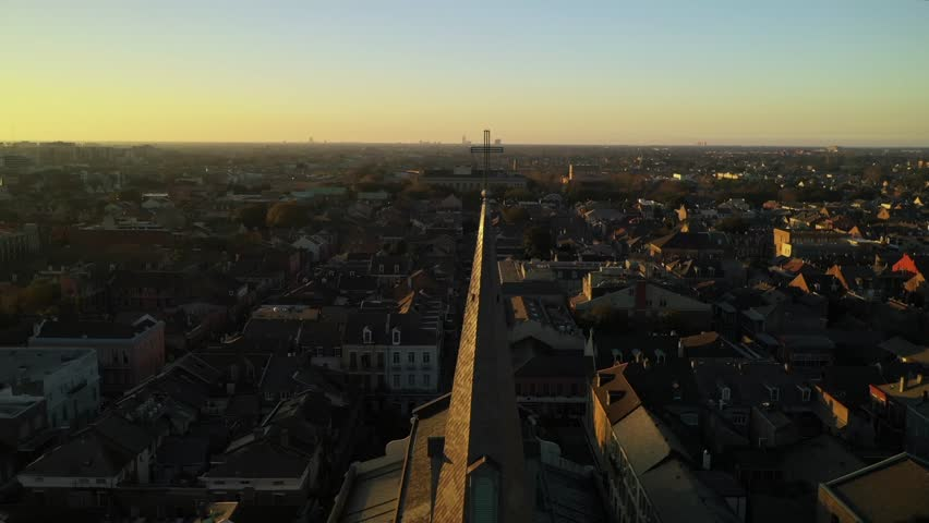 New Orleans St Louis Cathedral Zoom Out Sunset French Quarter Drone Aerial