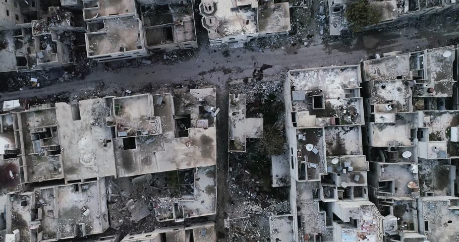 Damascus suburb destroyed in aerial view, Syria