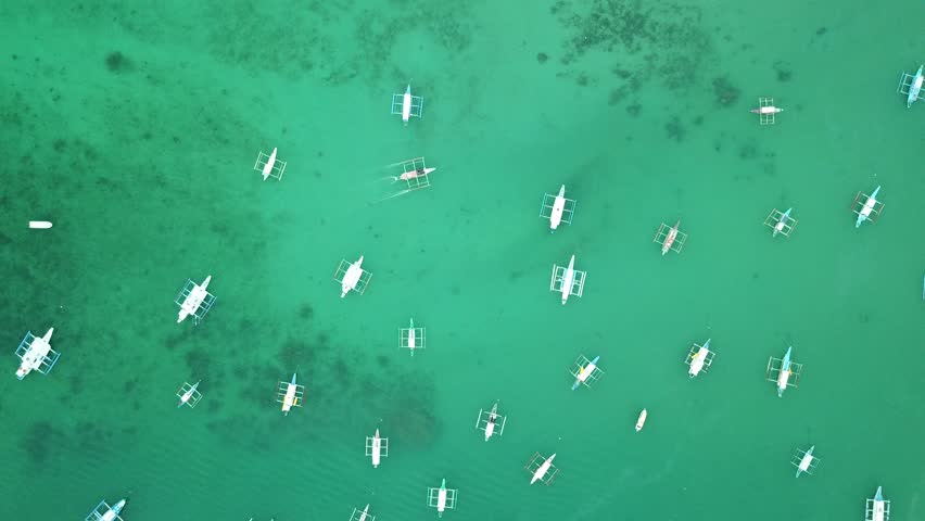 Aerial view of local boats in El Nido, Palawan, Philippines | Shutterstock HD Video #1024710215