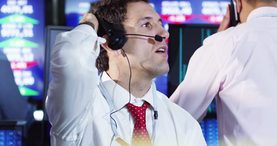 4K Depressed city financial trader reacts as he watches the markets crash