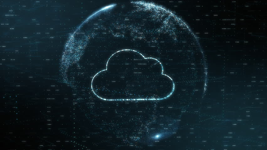 planet earth made with particles with a cloud inside it, concept of cloud computing,big data and global communication (3d render) Royalty-Free Stock Footage #1024720811