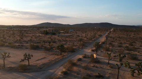 Aerial Sunset shot in Joshua Tree