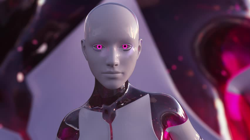 4K Color Changing Female Artificial Intelligence AI Android | Shutterstock HD Video #1024740908