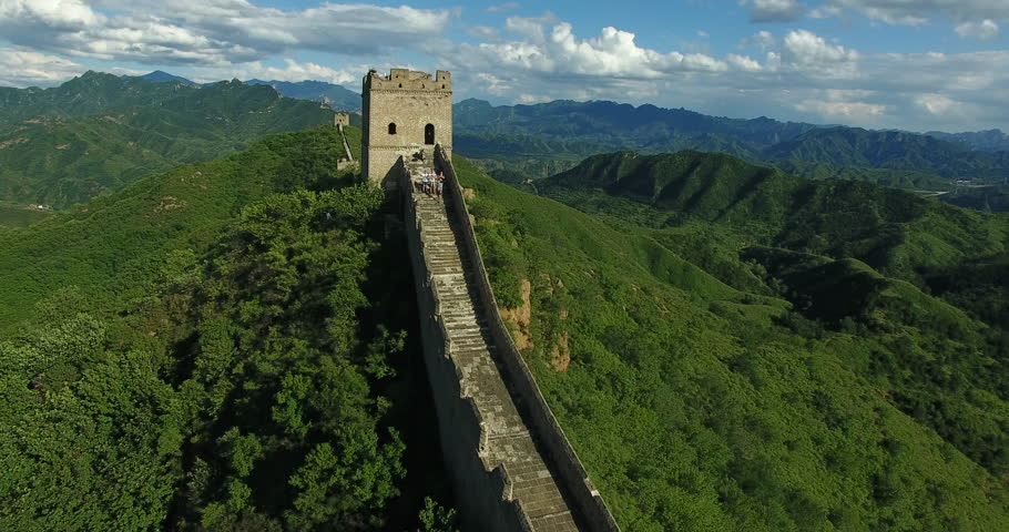 Great Wall of China. Unrestored sections at Jinshanling. Filmed from the drone. | Shutterstock HD Video #1024746077