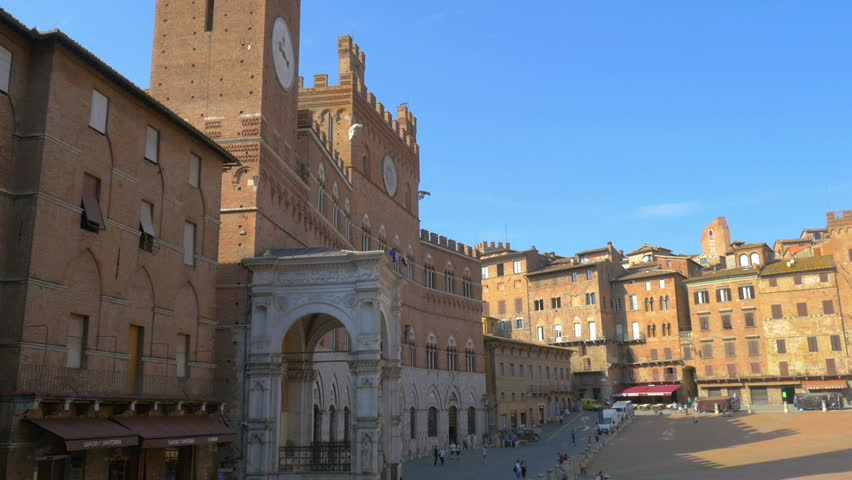 Panorama of Piazza del Campo with Mangia Tover, Tuscany   Shutterstock HD Video #1024770743