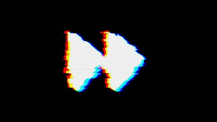 From the Glitch effect arises forward symbol. Then the TV turns off. Alpha channel Premultiplied - Matted with color black
