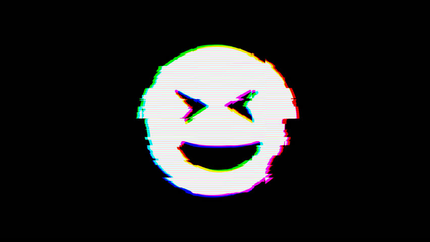 From the Glitch effect arises grin squint symbol. Then the TV turns off. Alpha channel Premultiplied - Matted with color black | Shutterstock HD Video #1024798592