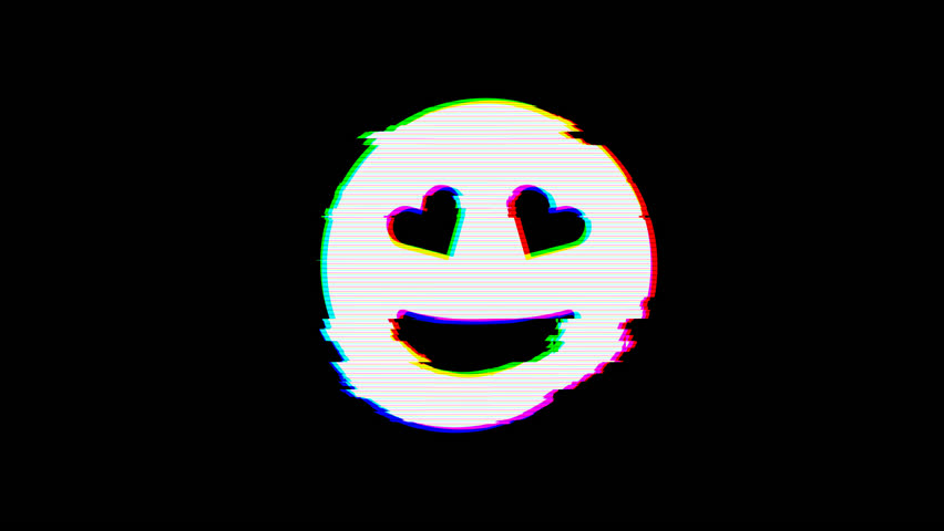 From the Glitch effect arises grin hearts symbol. Then the TV turns off. Alpha channel Premultiplied - Matted with color black | Shutterstock HD Video #1024798610