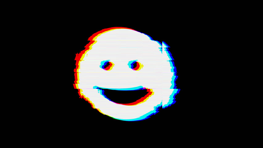 From the Glitch effect arises grin symbol. Then the TV turns off. Alpha channel Premultiplied - Matted with color black | Shutterstock HD Video #1024798754